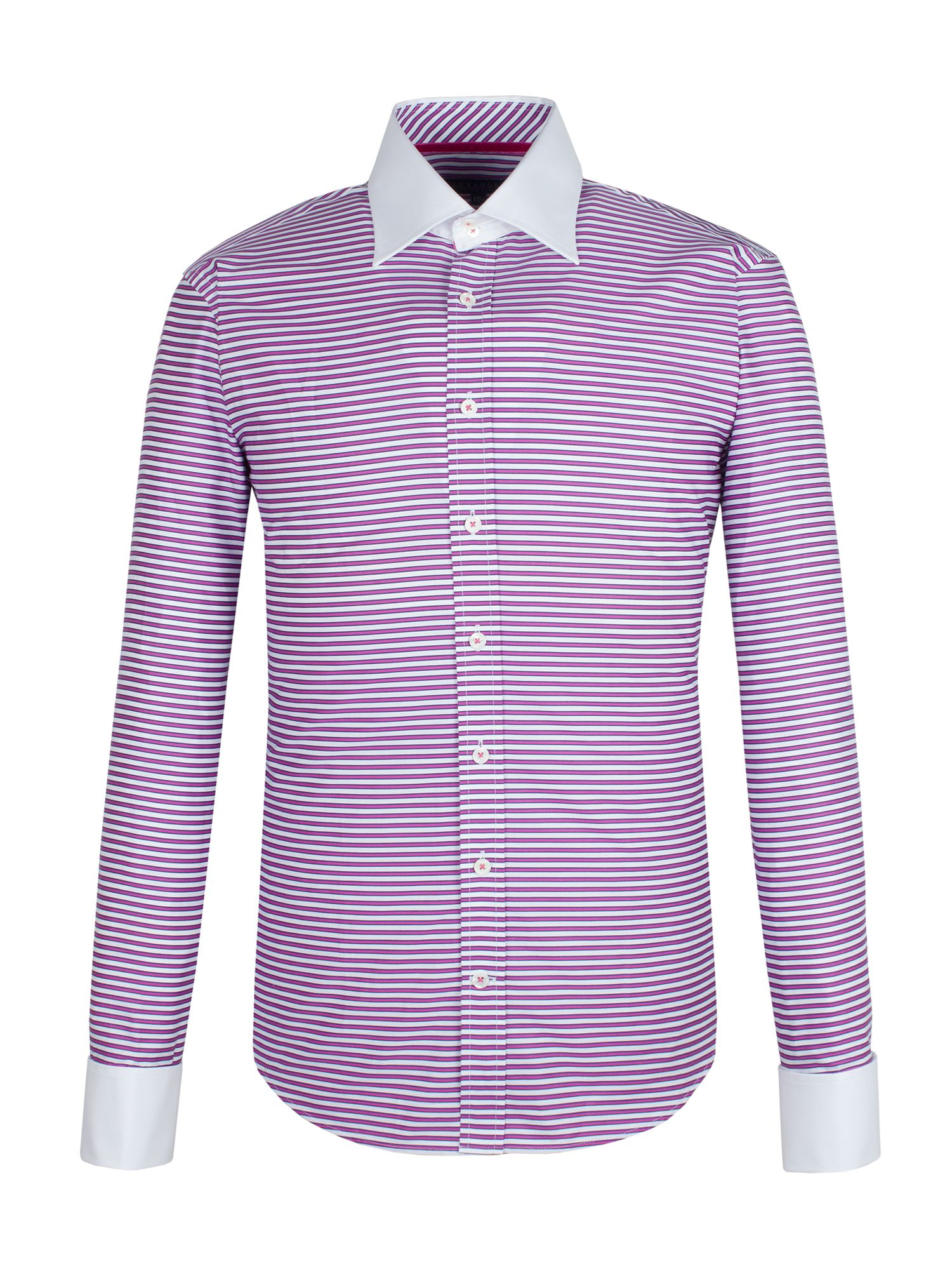 Pink bordered stripe tailored shirt