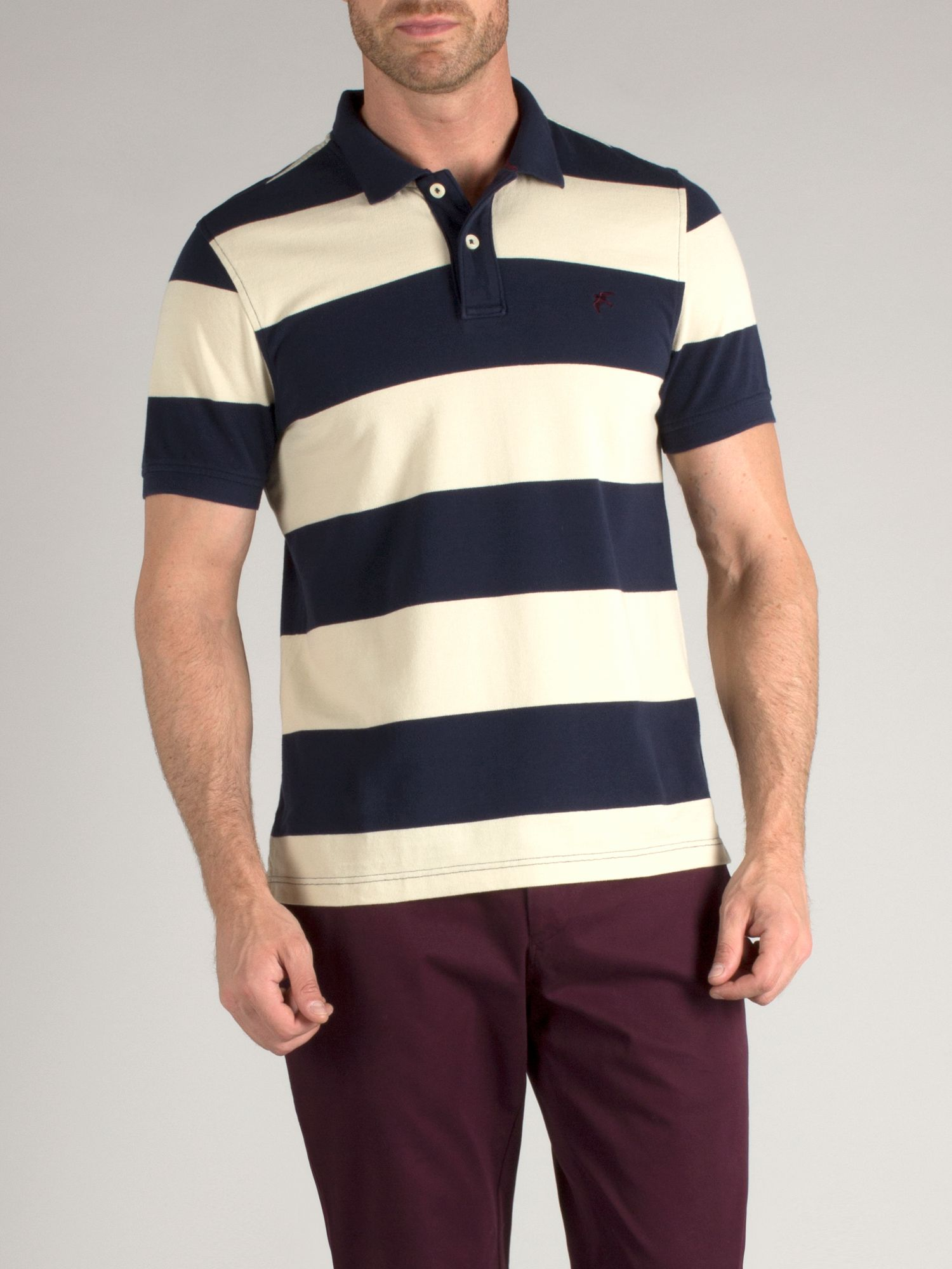 Block stripe polo with falcon embroidery