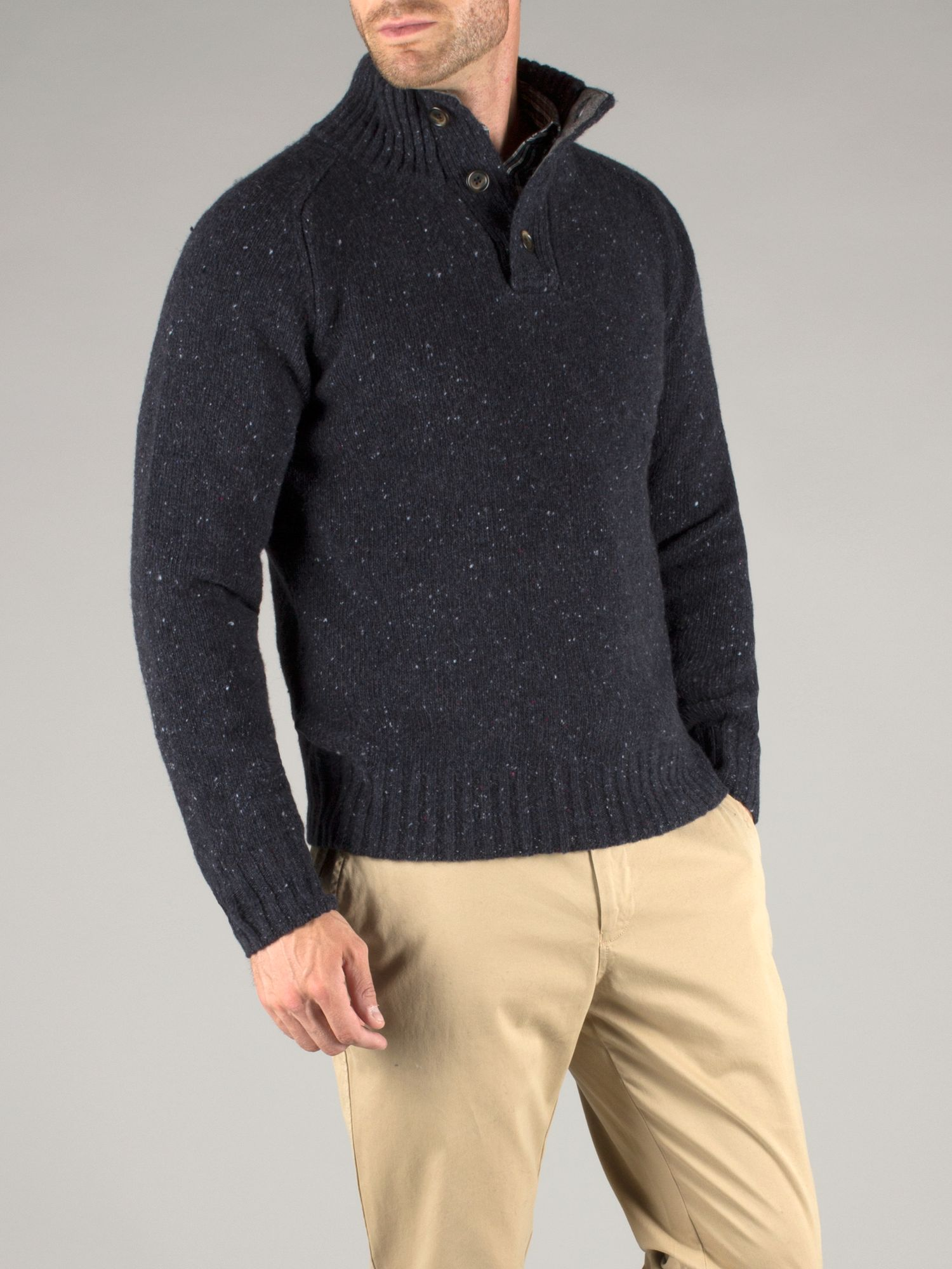 Carter button neck nep knit