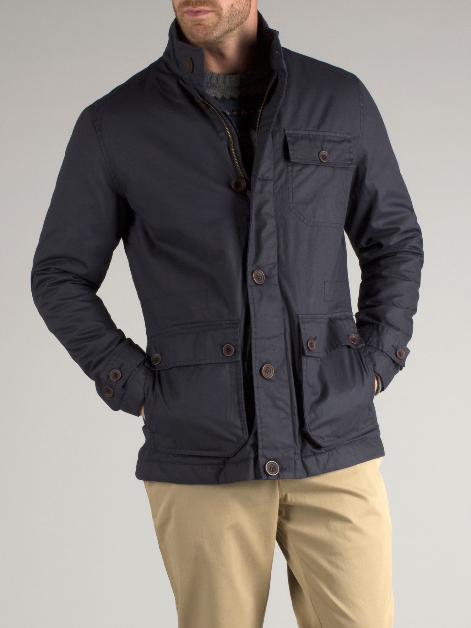 Balcombe navy coated canvas field jacket