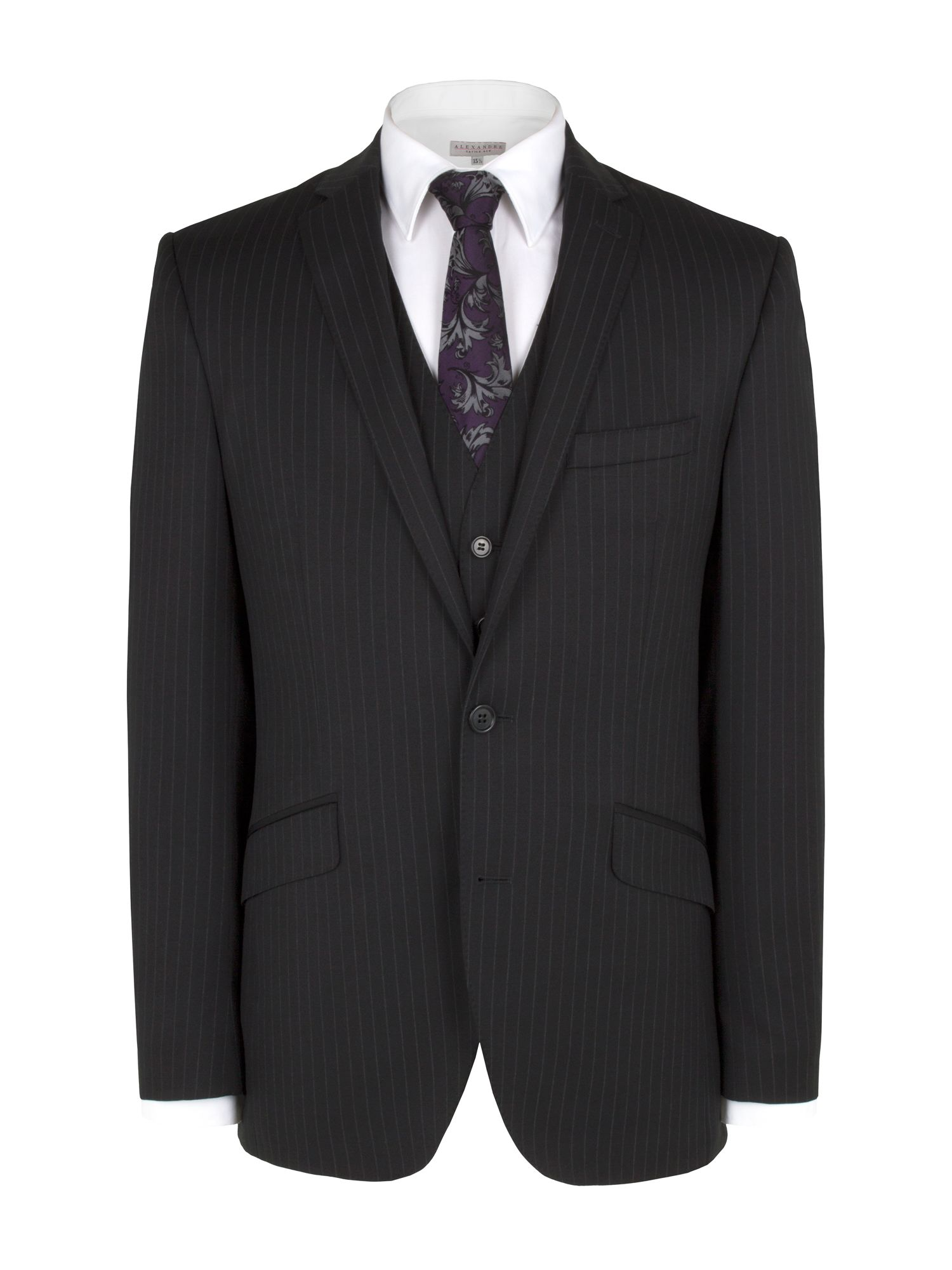Black chalkstripe suit