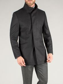 Single breasted funnel neck overcoat