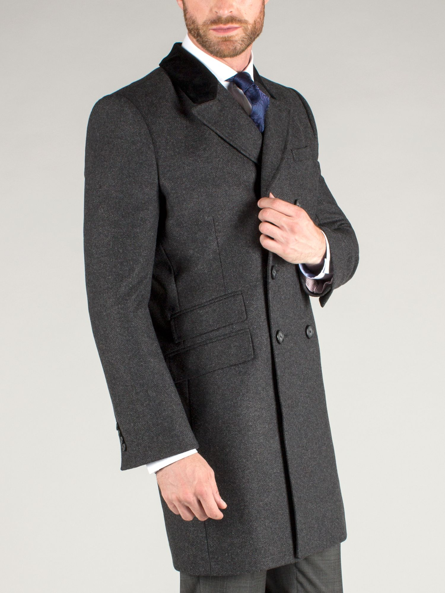 Charcoal herringbone double breasted overcoat
