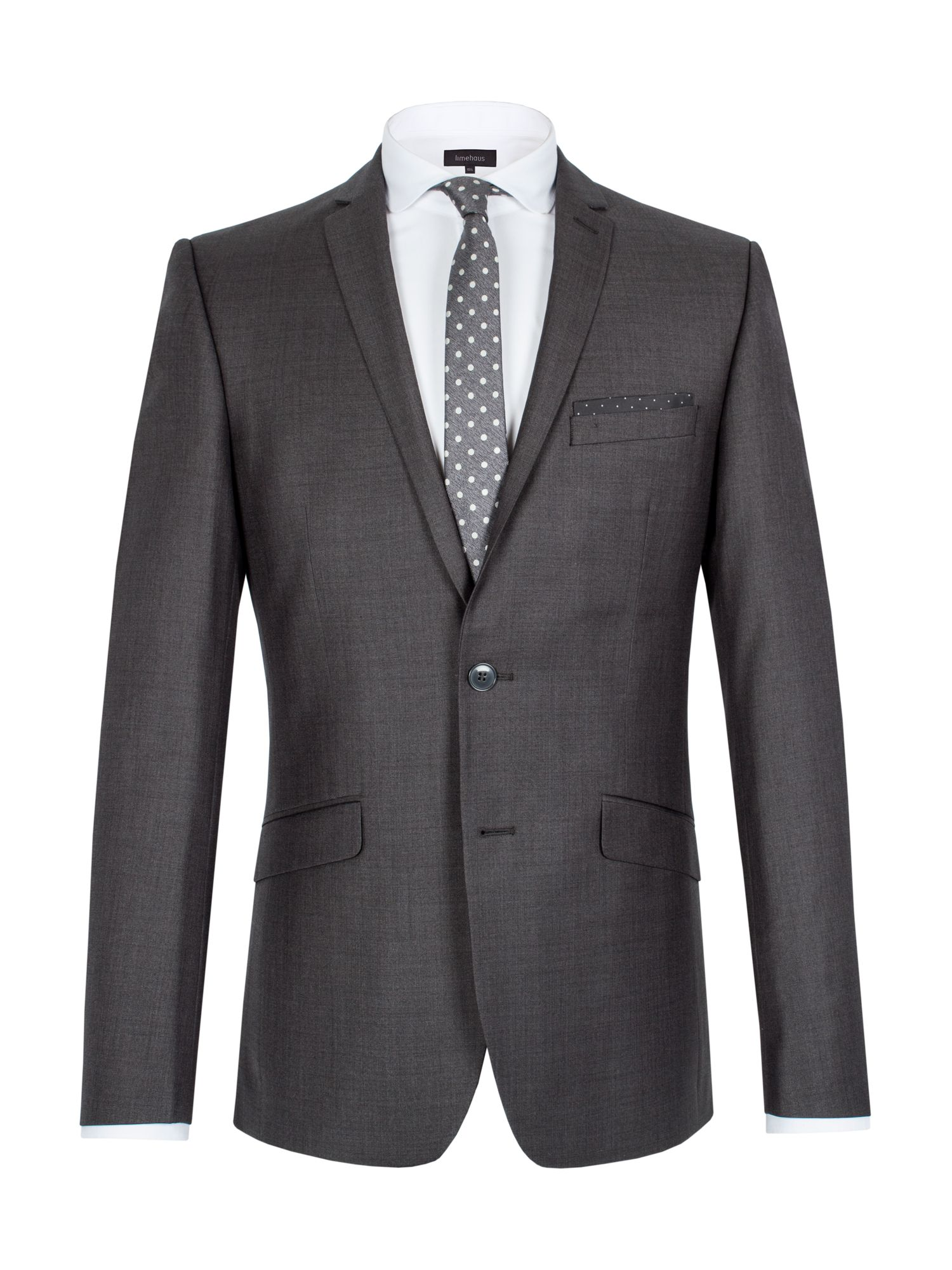 Limehaus Men's Limehaus Graphite twill single breasted suit jacket, Grey