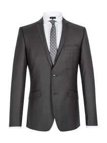 Graphite twill single breasted suit jacket