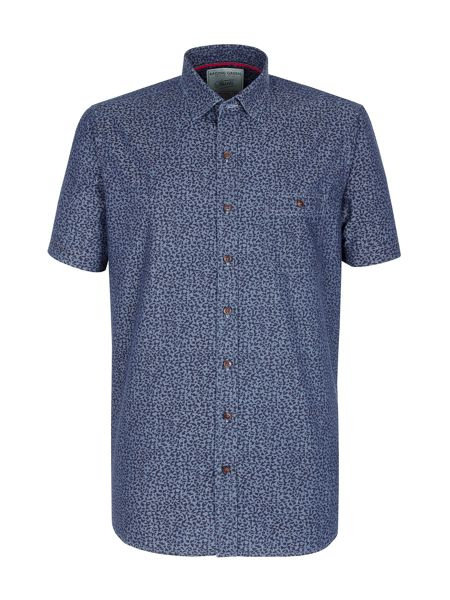 Racing Green Island printed chambray shirt