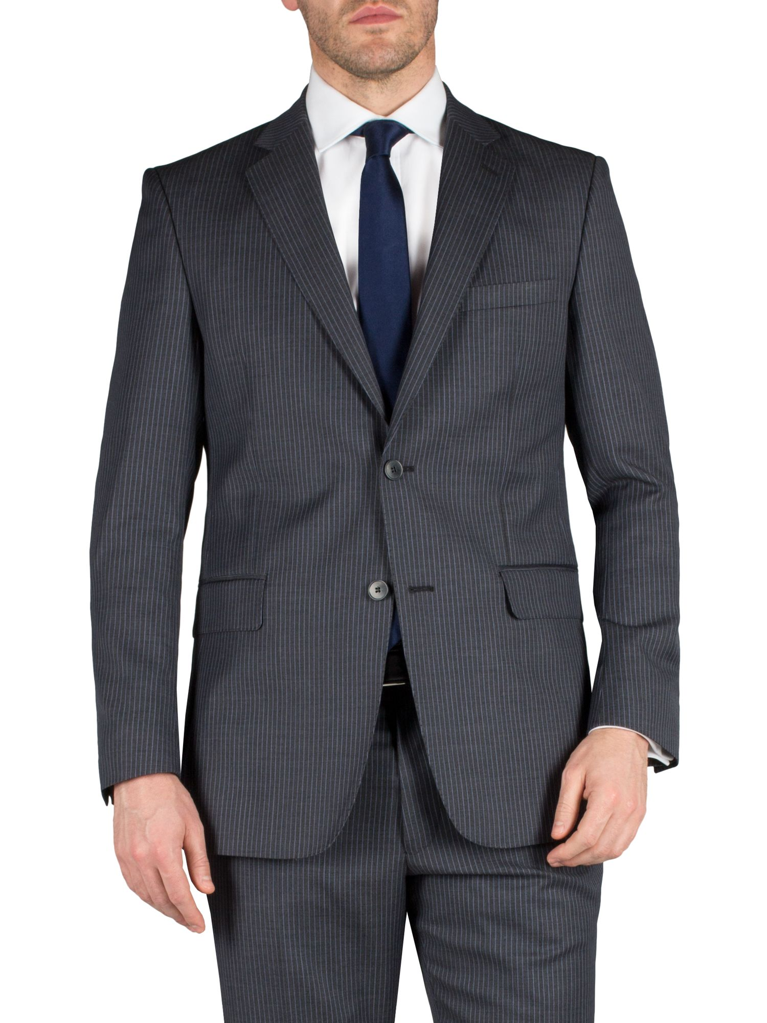 Stripe notch single breasted suit jacket