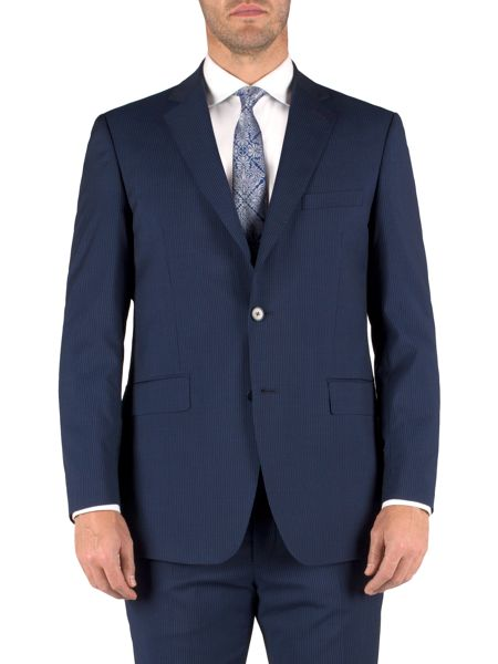 Alexandre of England Stripe single breasted classic suit jacket