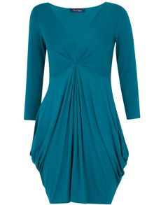 Closet Jersey v neck gathered dress