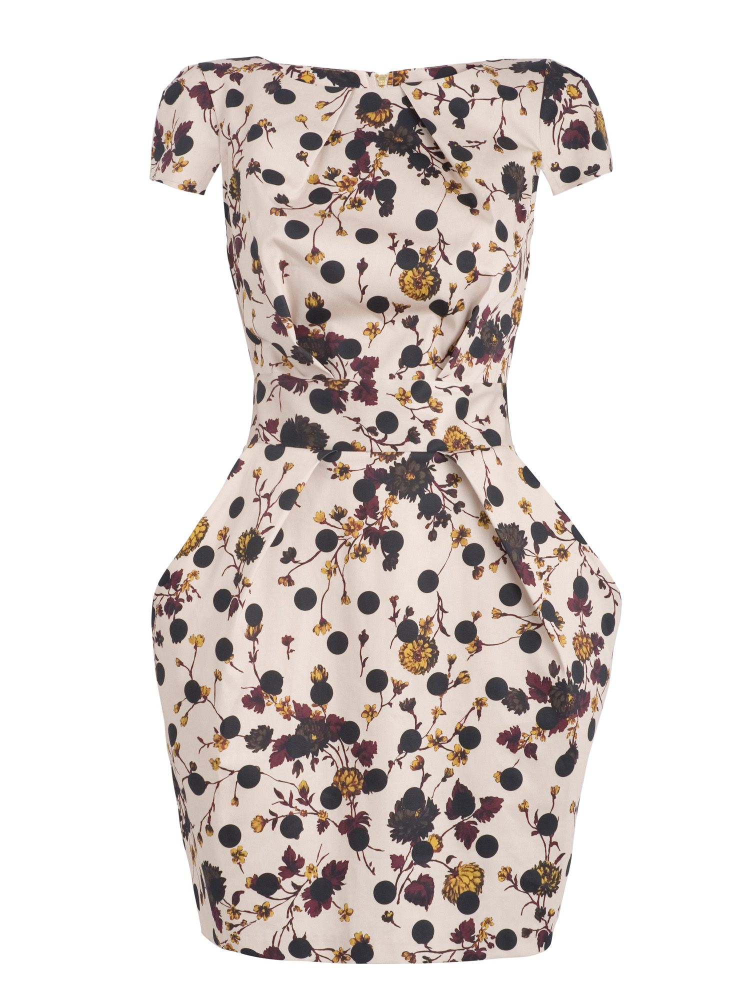 Polka & floral tie back dress