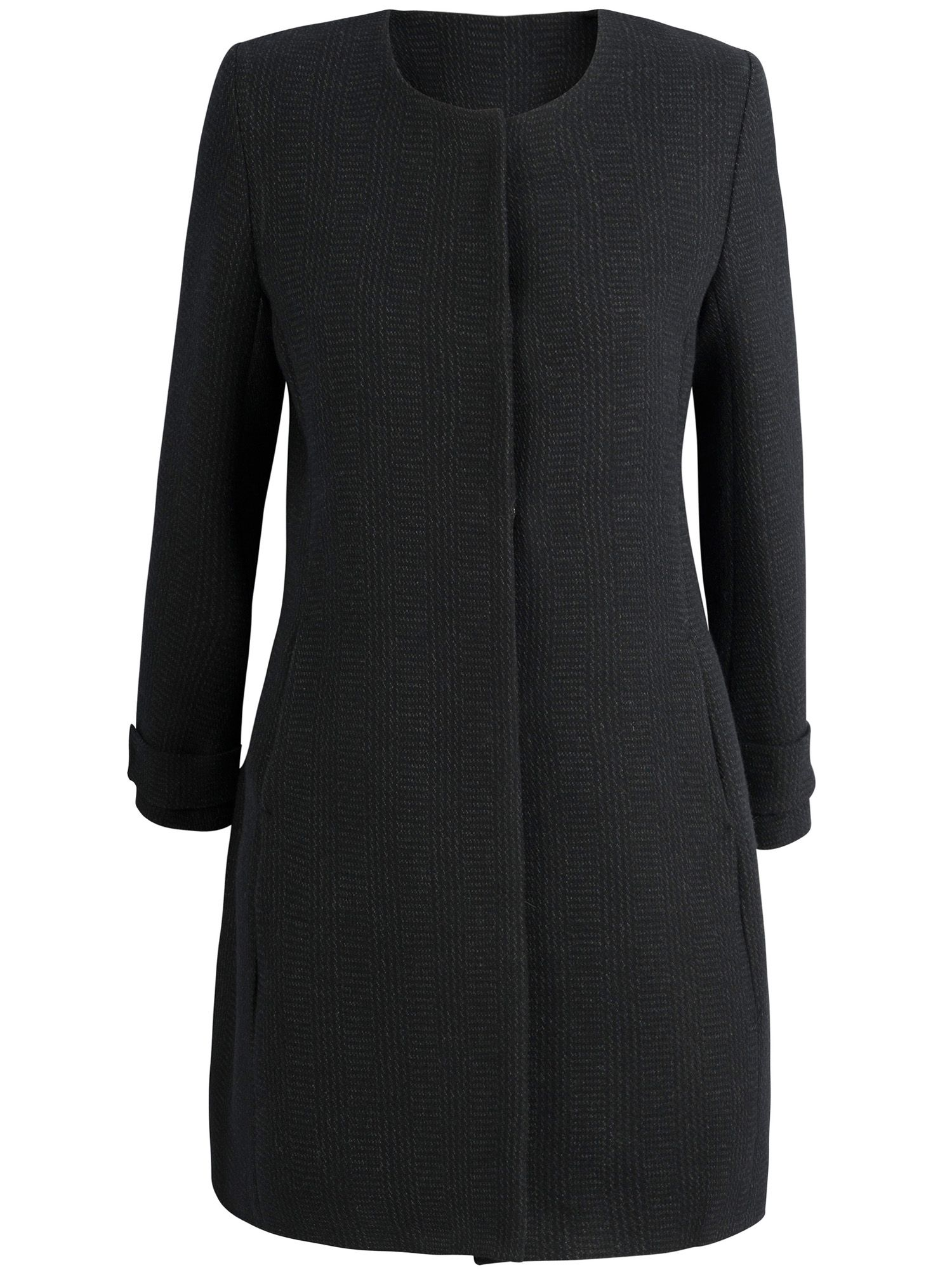 Wool pleat back popper coat