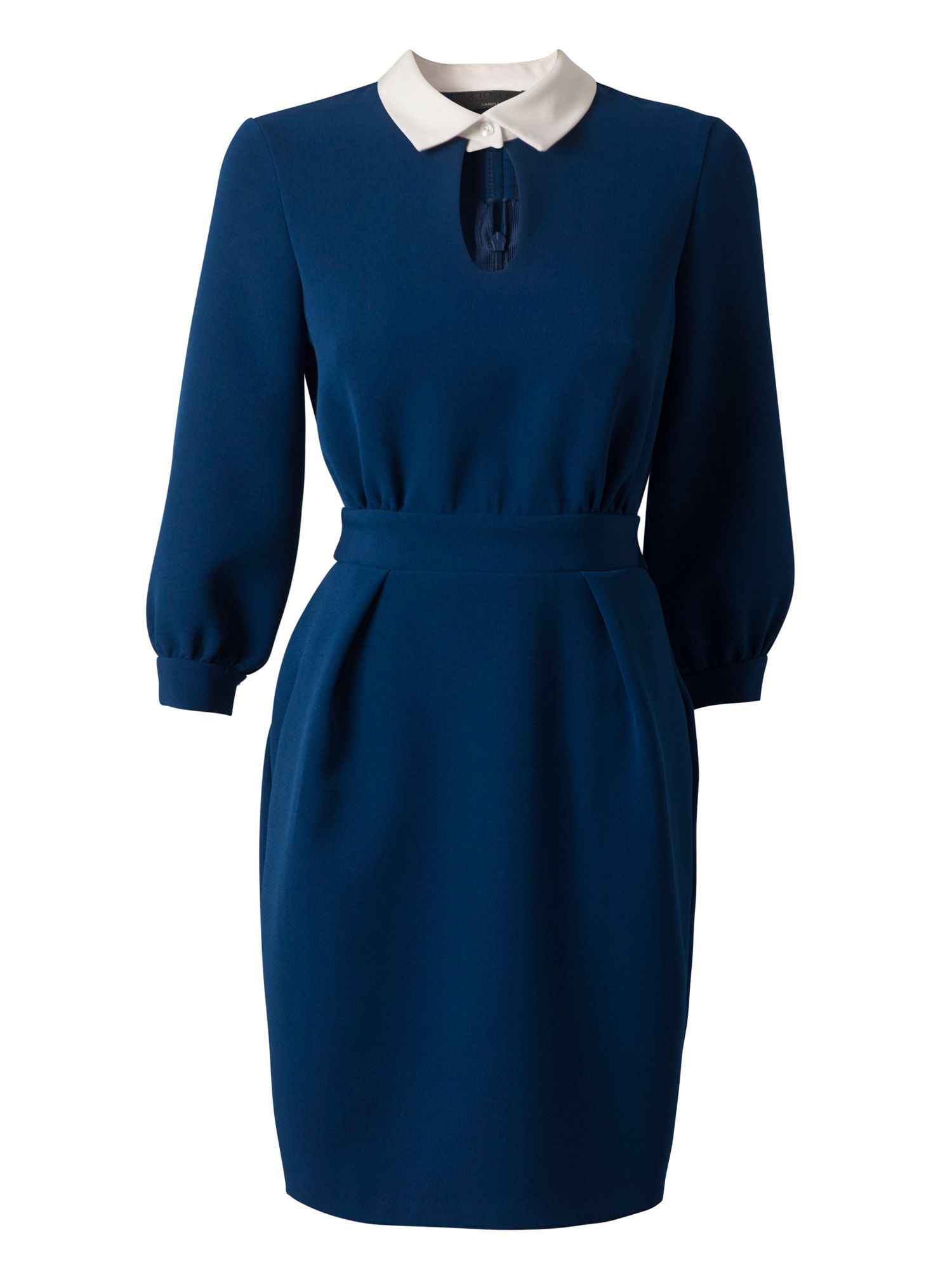 Long sleeve collar tie back dress