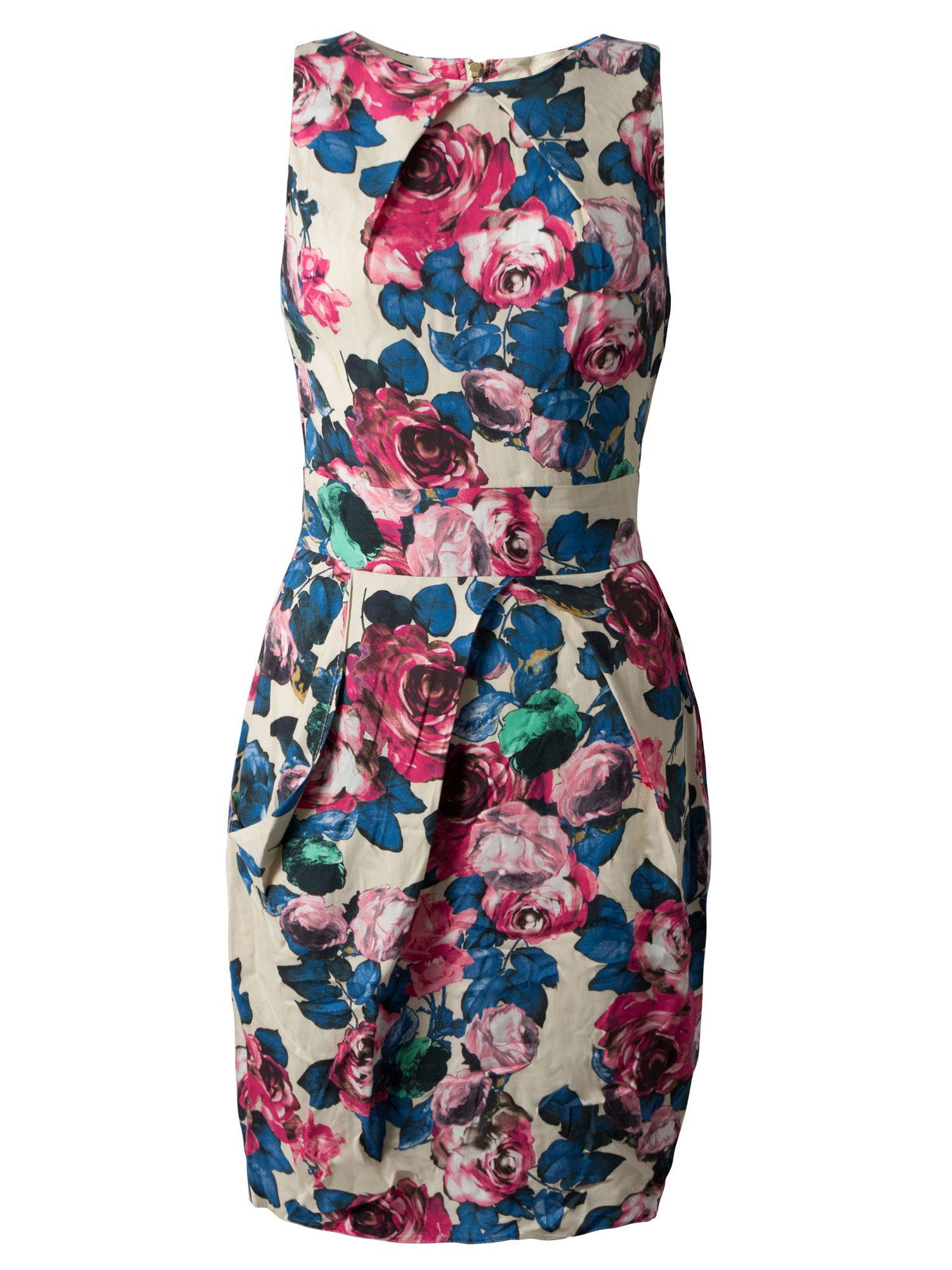 Floral pleat neck tie back dress