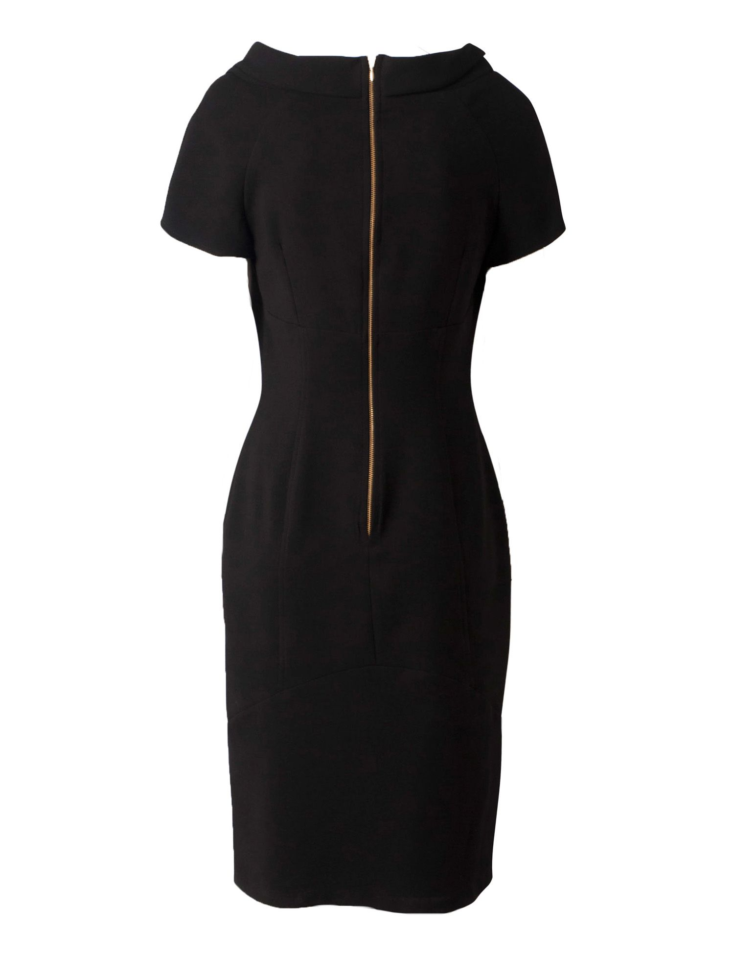 Collar curve seam pencil dress