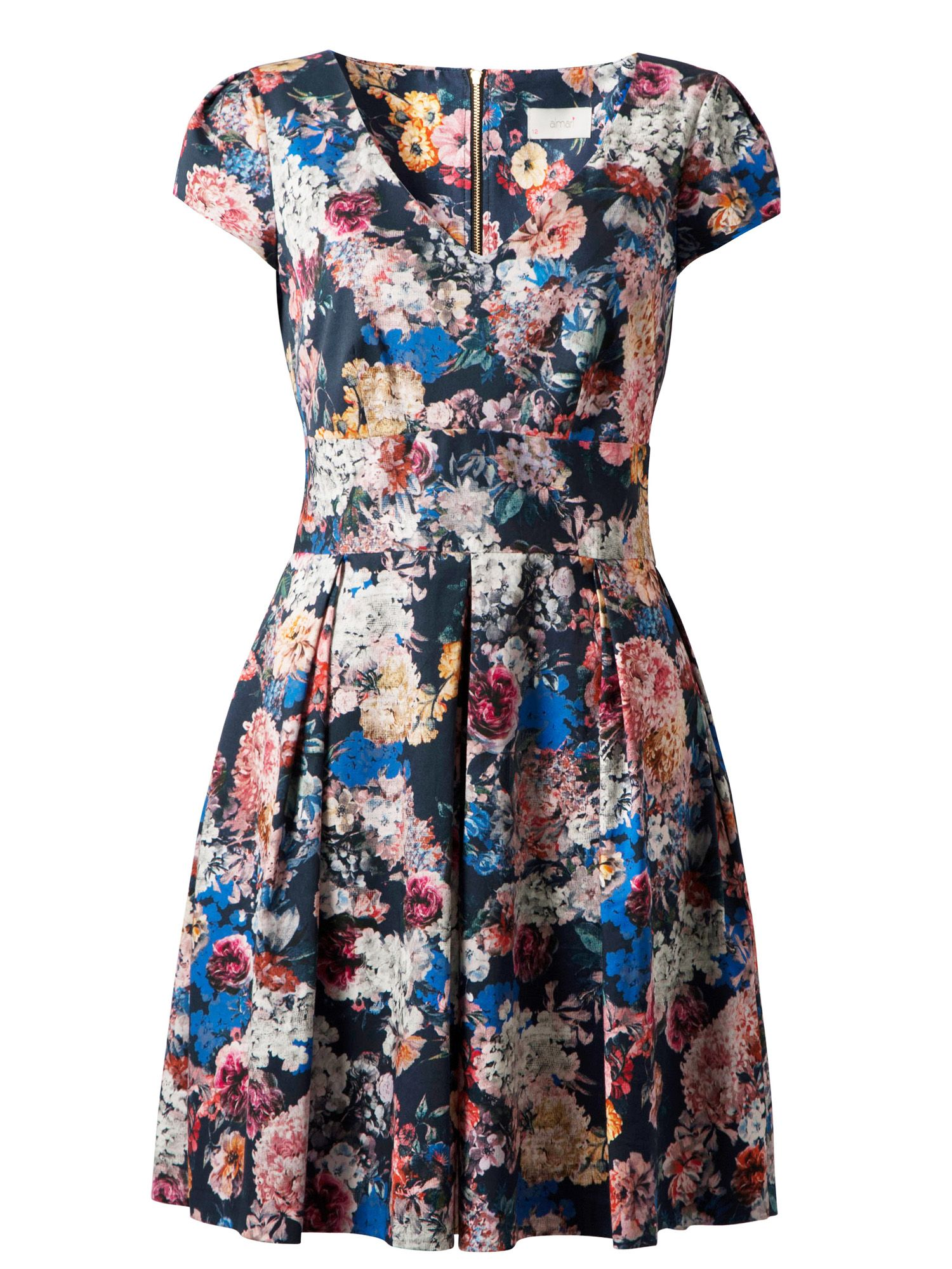 Floral v neck pleat dress