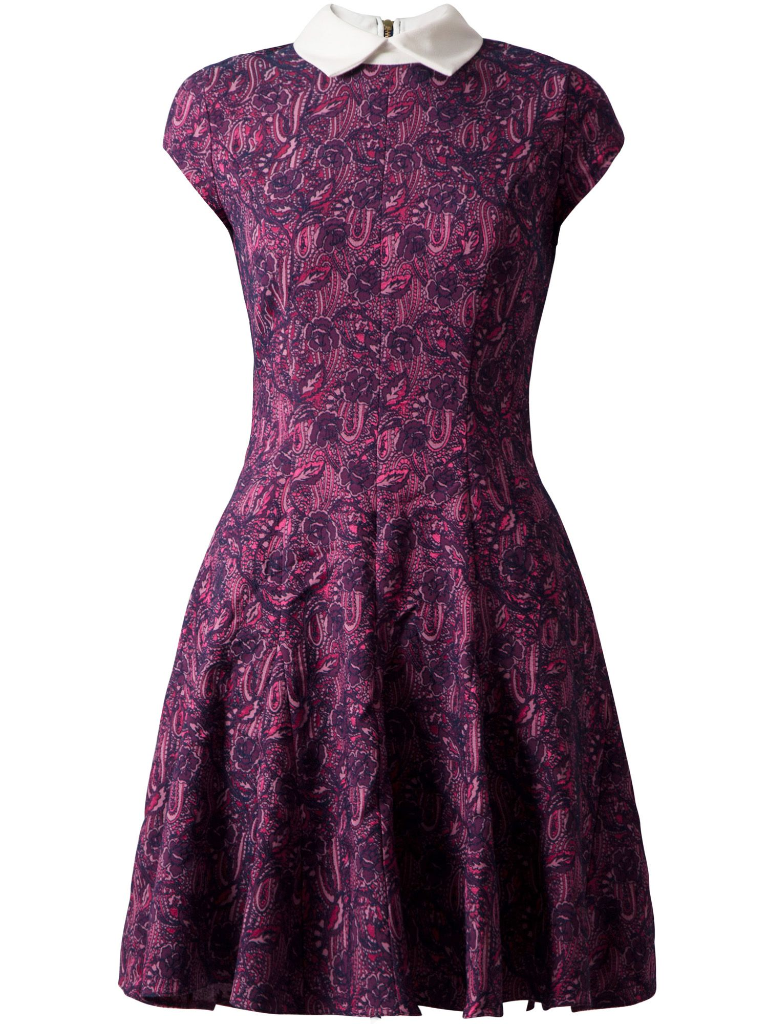 Jacquard collar godet dress