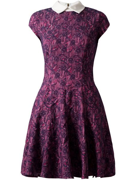 Almari Jacquard collar godet dress
