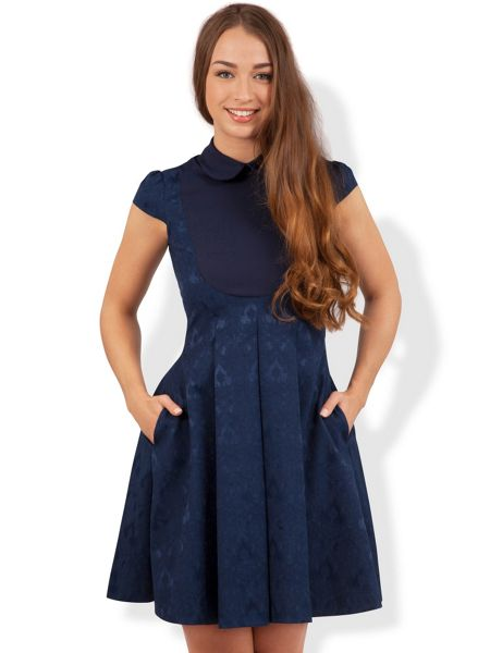 Almari Big collar jacquard dress