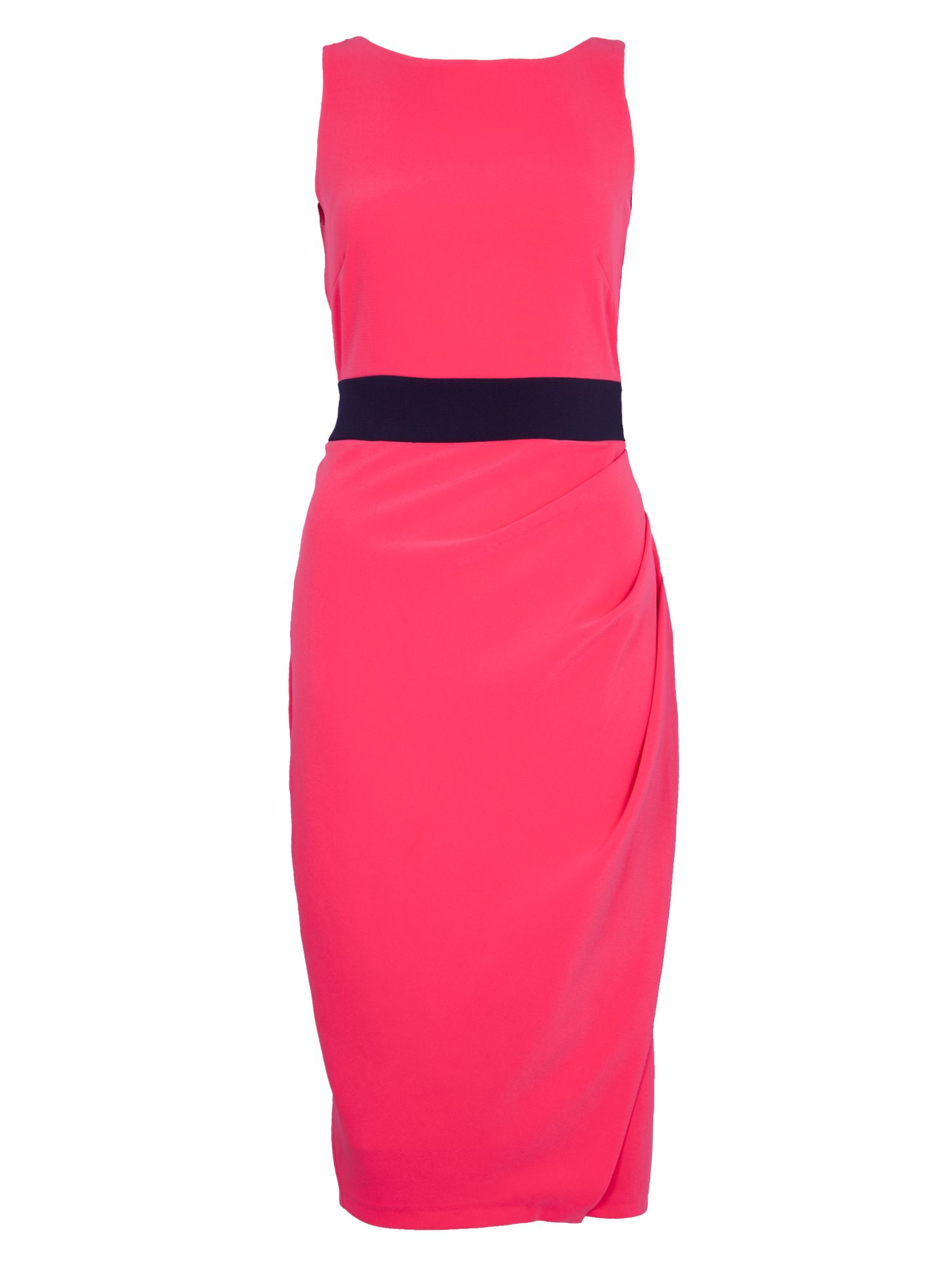 Contrast waist drape midi dress