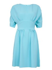 Pleat and gathered tie back dress