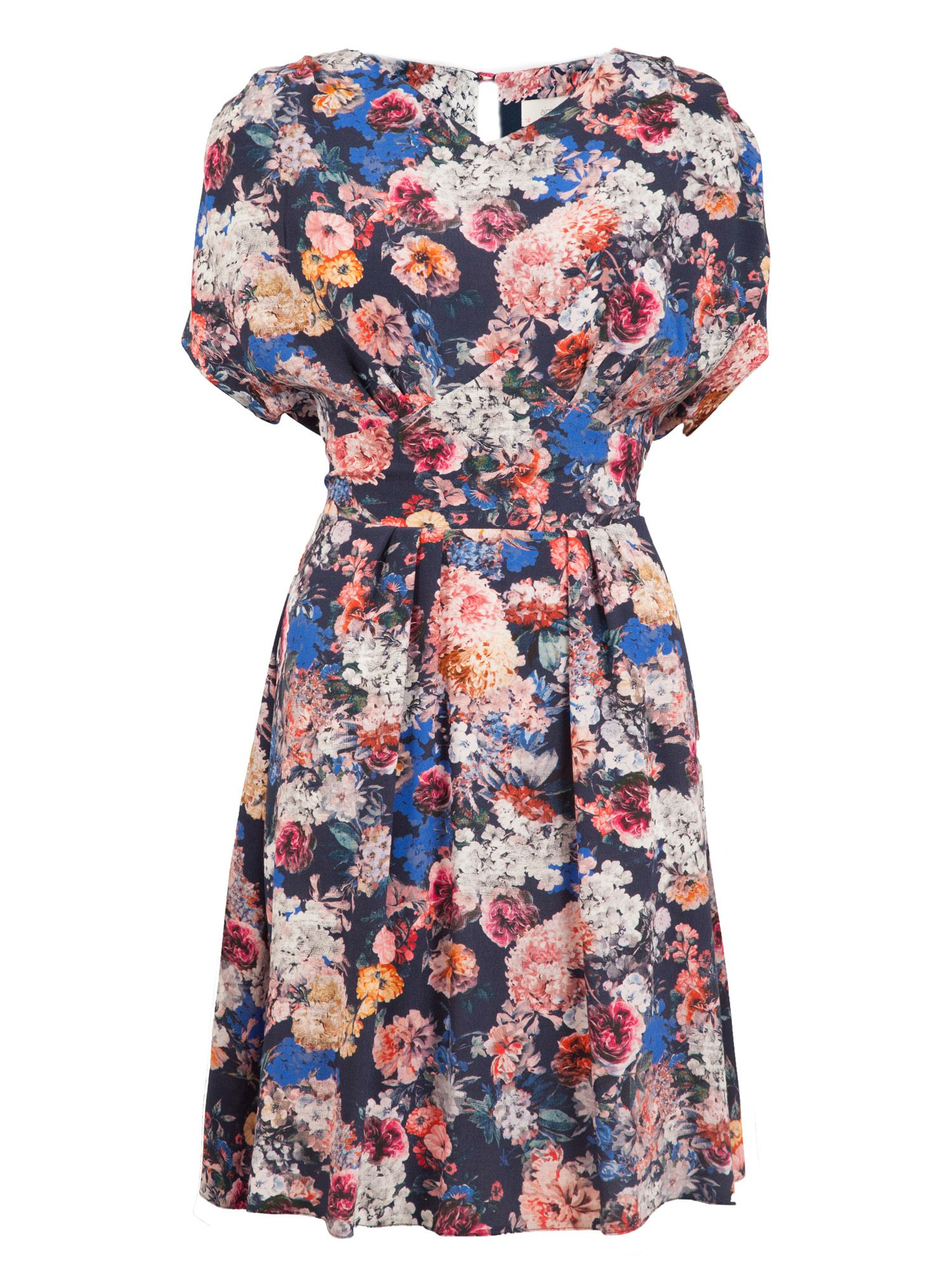 Floral v neck tie back dress