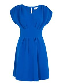 Almari Pleat v neck tie back dress