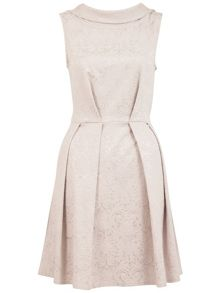 Almari V back collar jacquard dress