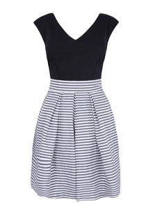 Almari Stripe taffeta contrast dress