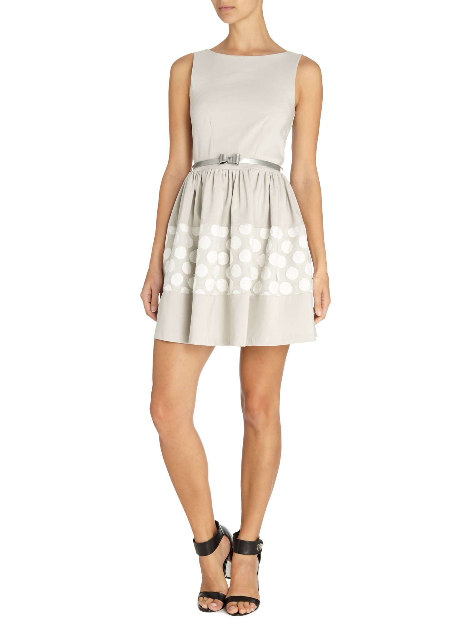 Big spot lace bow belt dress