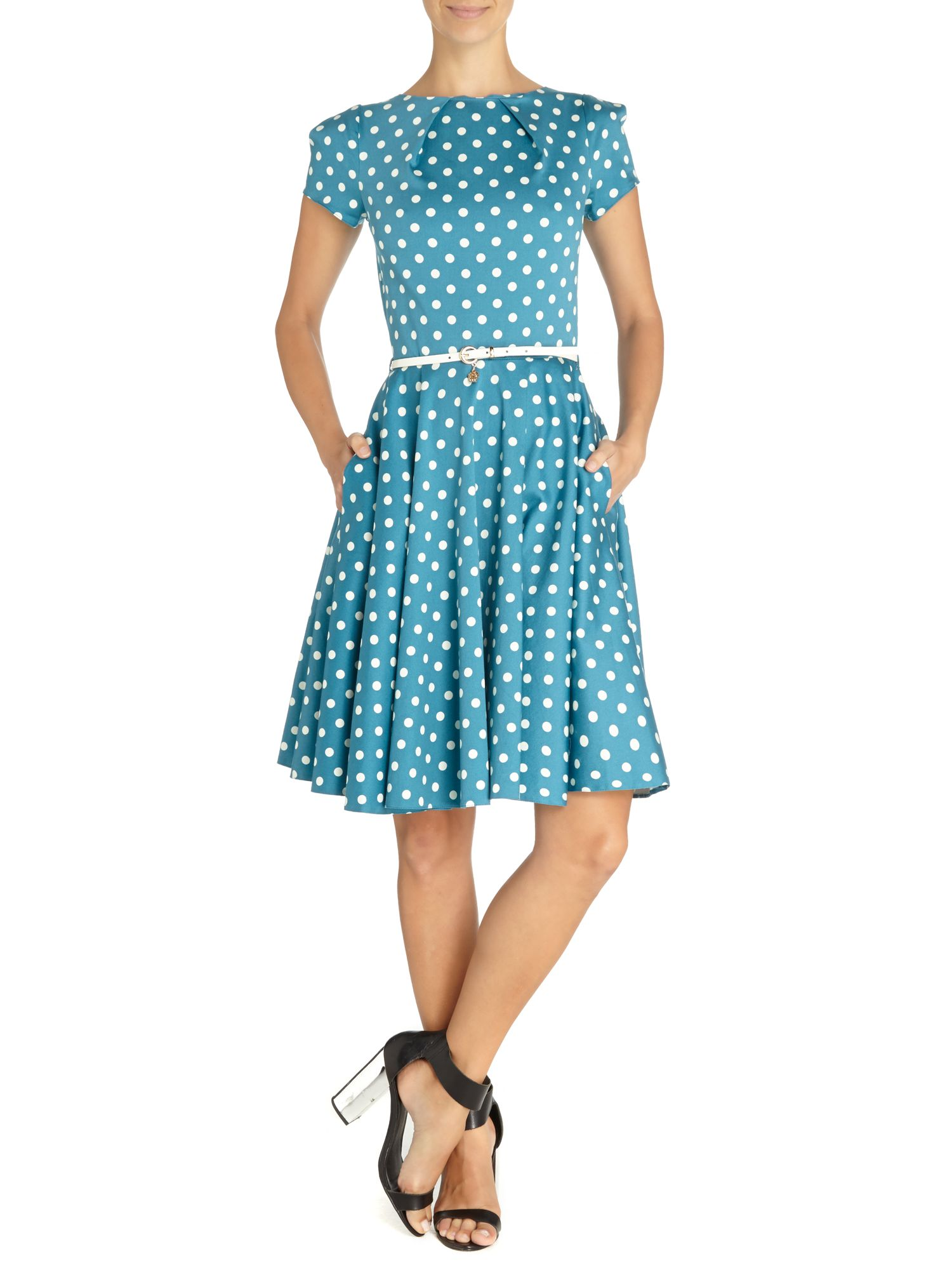 Spot cap sleeve flared belt dress
