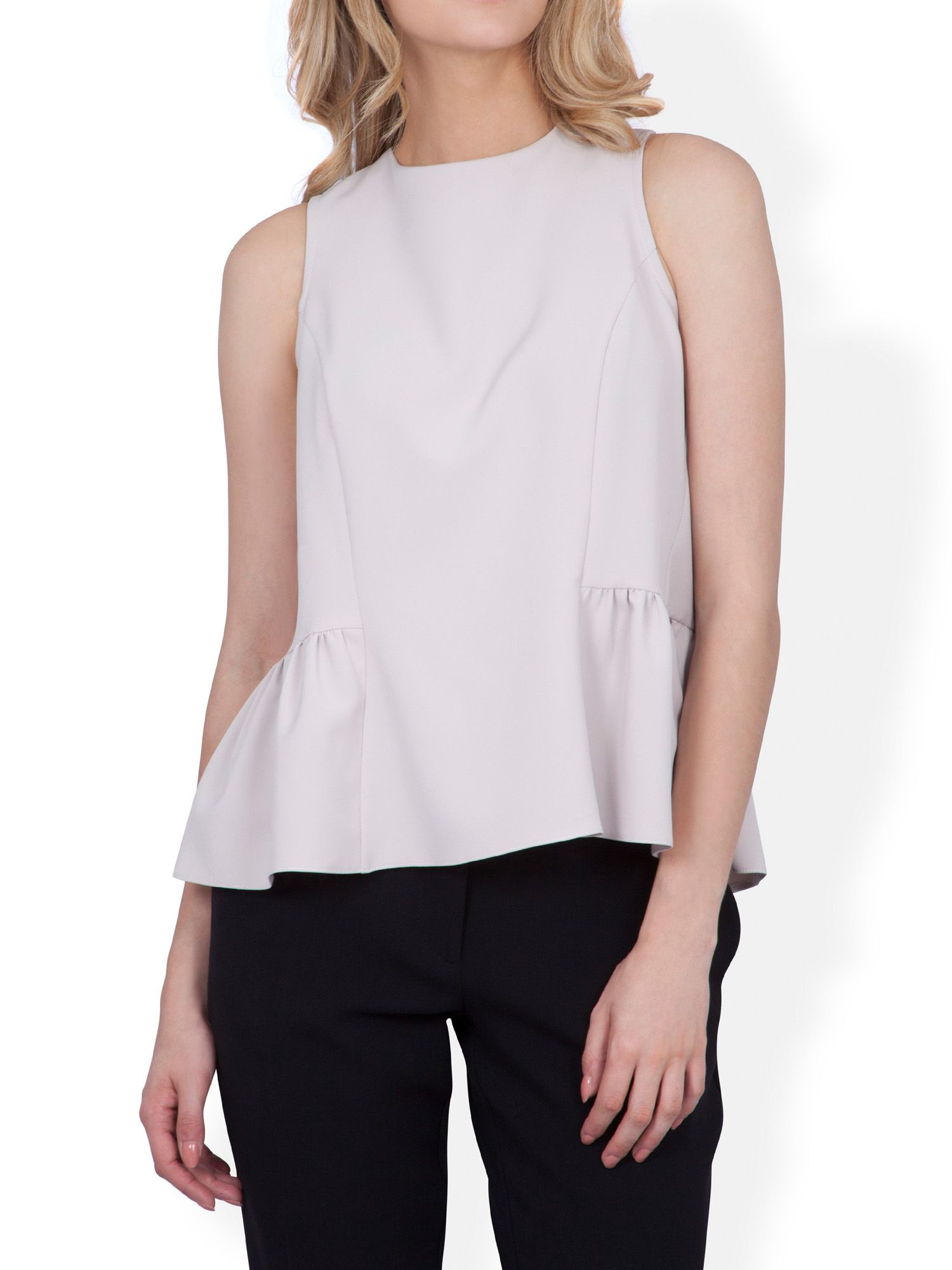 Button back frill hem top