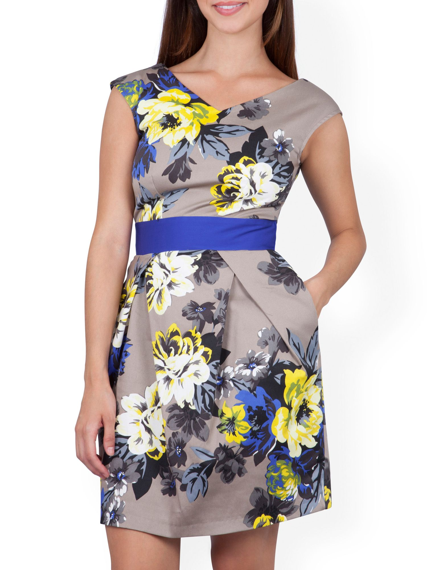 Floral contrast waist v back dress