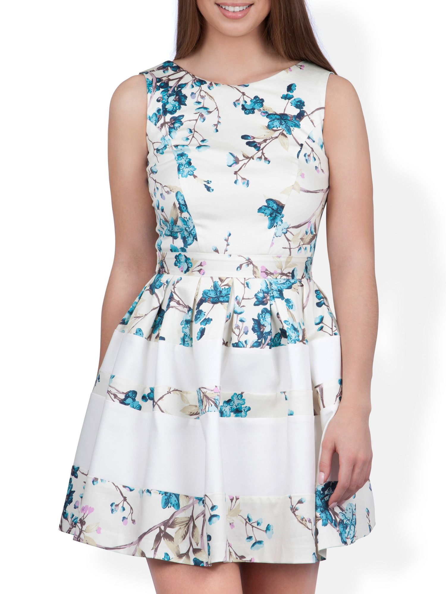 Print and contrast band dress