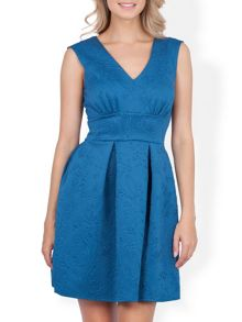 Almari V neck embossed scuba dress