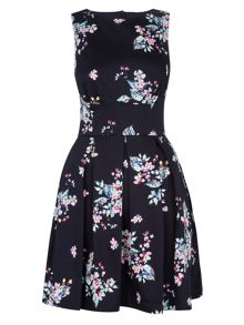 Cut out back floral full dress