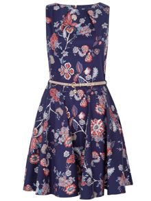 Closet Floral flared belted dress