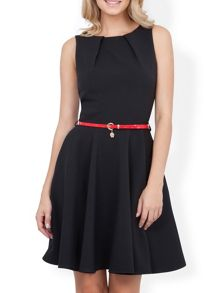 Flared belted dress