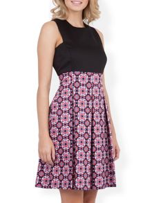 Mosaic Print Contrast Panel Dress
