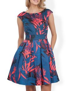 Palm Print V Tie Back Dress