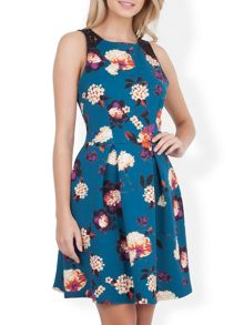 Almari Floral Scuba Lace Back Dress