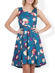 Floral High Low Tie Back Dress