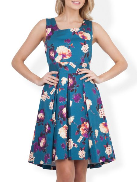 Almari Floral High Low Tie Back Dress