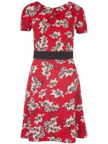 Hawaiian Print Tie Dress