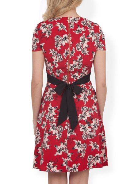 Closet Hawaiian Print Tie Dress