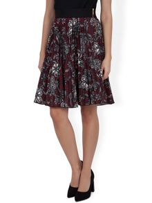 Floral Swirl Pleated Skirt