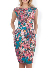 Almari Floral Print V Tie Back Dress