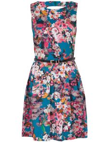 Almari Floral Cut Out Back Belted Dress