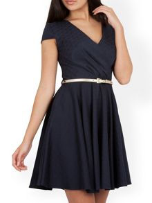 V Neck Jacquard Belted Dress