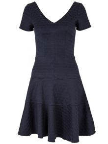 Almari Jacquard V Neck Band Dress