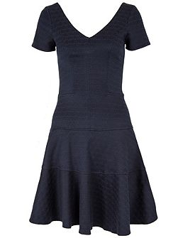 Jacquard V Neck Band Dress